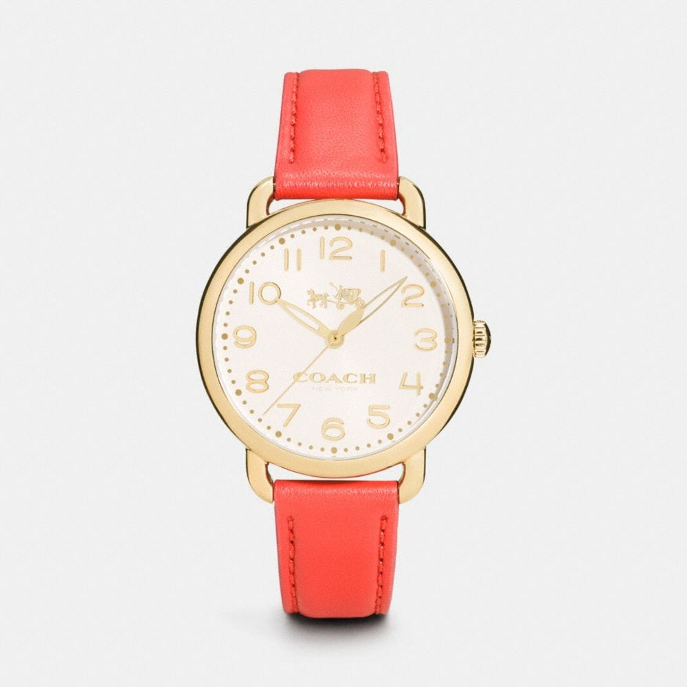 DELANCEY 36MM GOLD PLATED LEATHER STRAP WATCH
