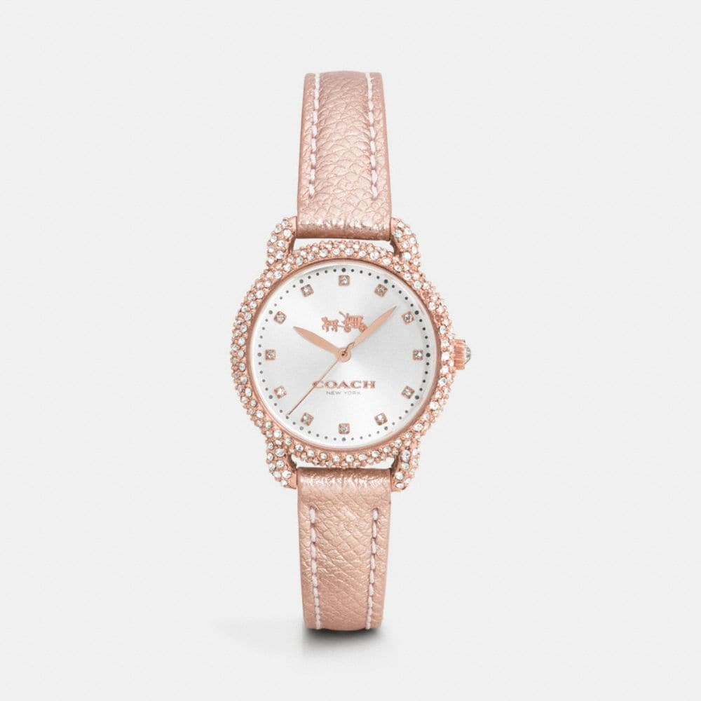 delancey 28mm snow set rose gold plated strap watch