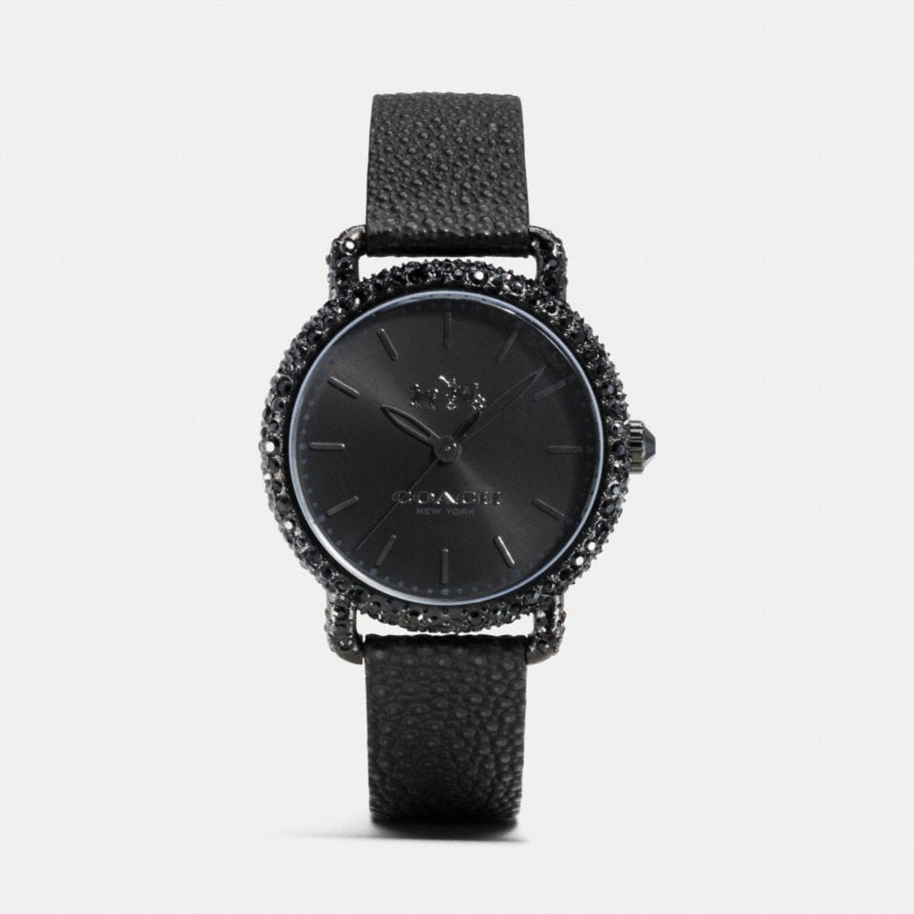 DELANCEY SNOW SET BLACK IONIZED PLATED STRAP WATCH