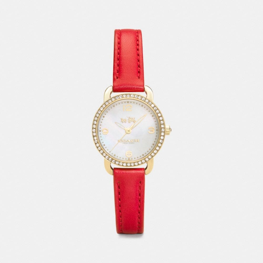 DELANCEY GOLD PLATED MOTHER OF PEARL SET STRAP WATCH