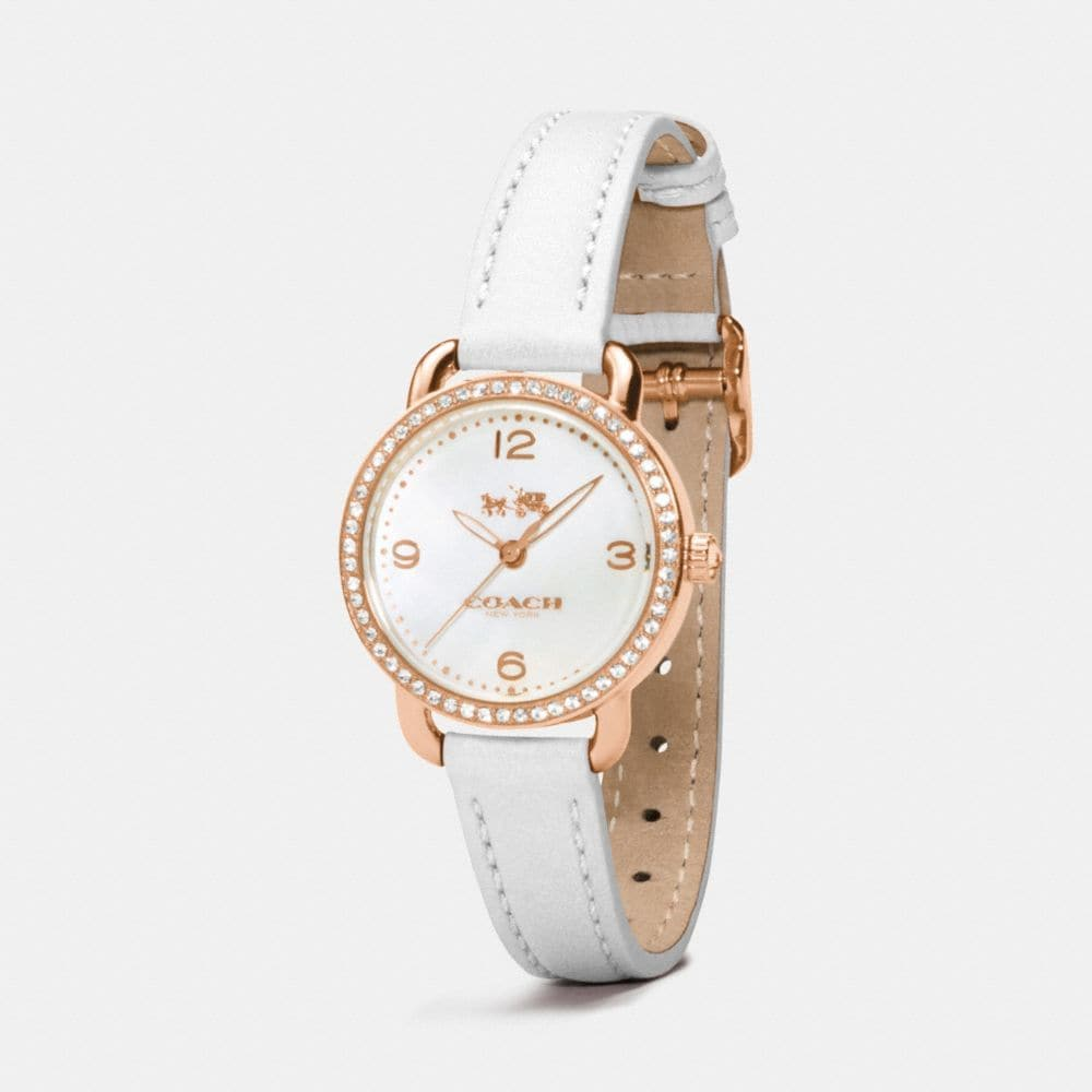 Coach Delancey Rose Gold Plated Mother of Pearl Set Strap Watch Alternate View 1