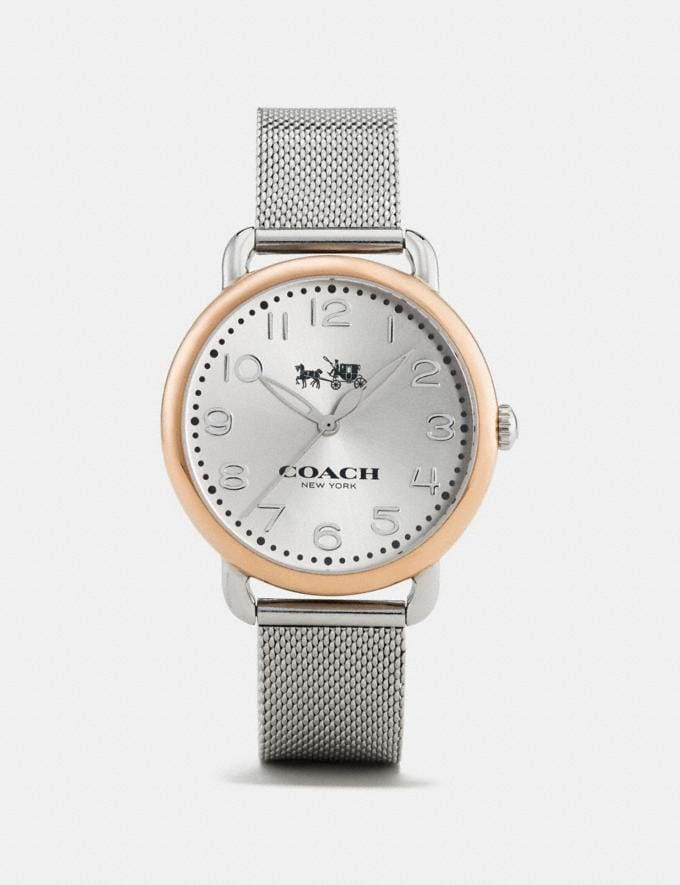 Coach Delancey Two-Tone Mesh Bracelet Watch Rose Gold/Silver Women Accessories Watches
