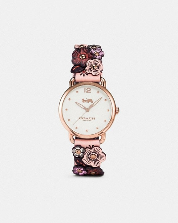 Coach Delancey Watch With Floral Applique, 36mm