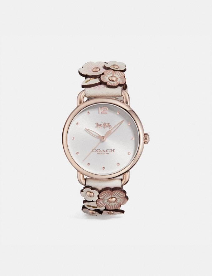 Coach Delancey Watch With Floral Applique, 36mm Chalk Multi/Pale Blush Women Accessories Watches