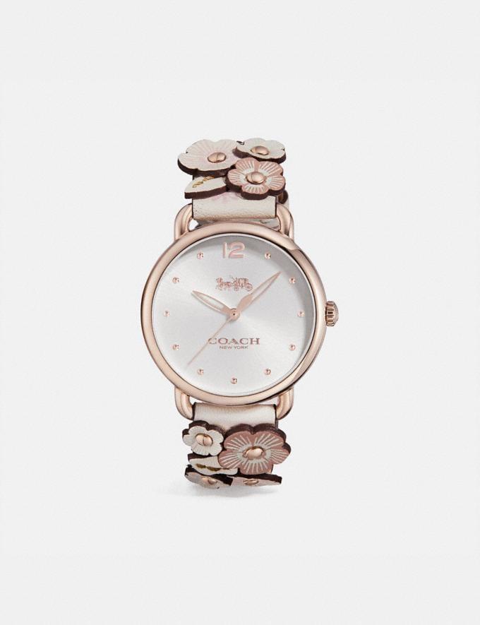 Coach Delancey Armbanduhr Mit Blumenapplikation, 36 Mm Kreide Multi/Blassrosa Damen Accessoires Uhren