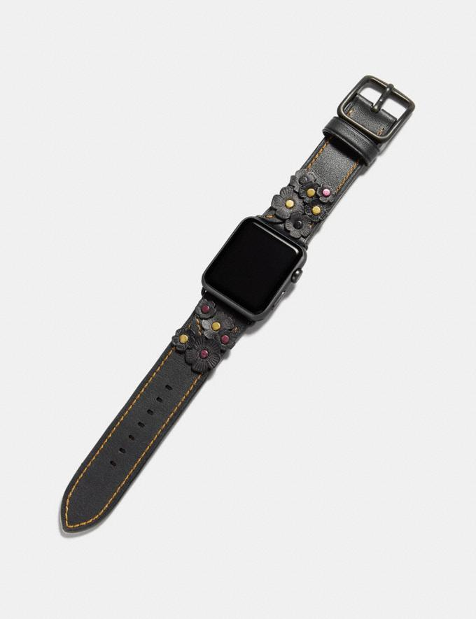 Coach Apple Watch® Strap With Tea Rose Applique Black Women Accessories Watches Alternate View 1
