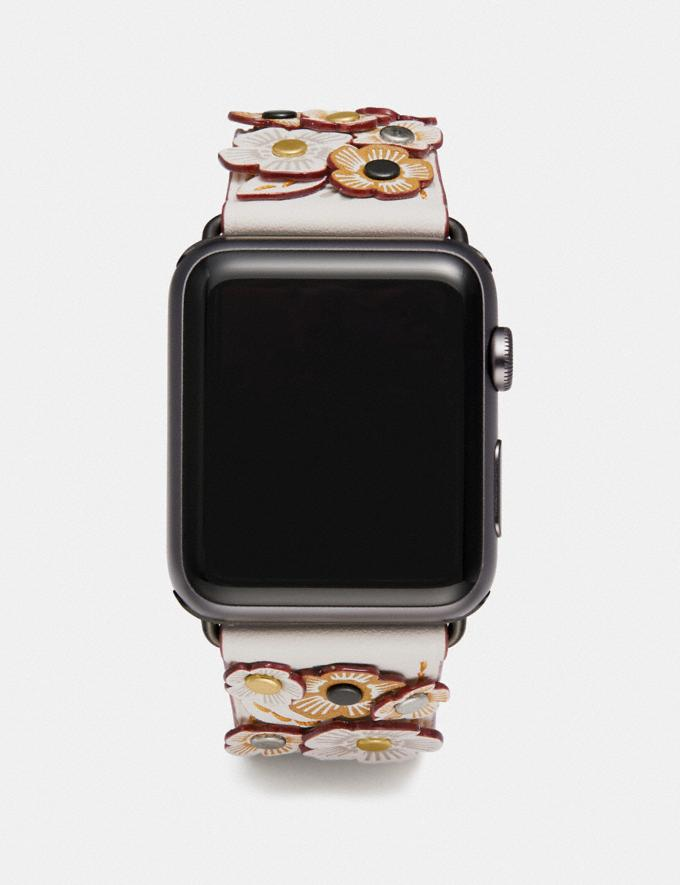 Coach Apple Watch® Strap With Tea Rose Applique Chalk Gifts For Her