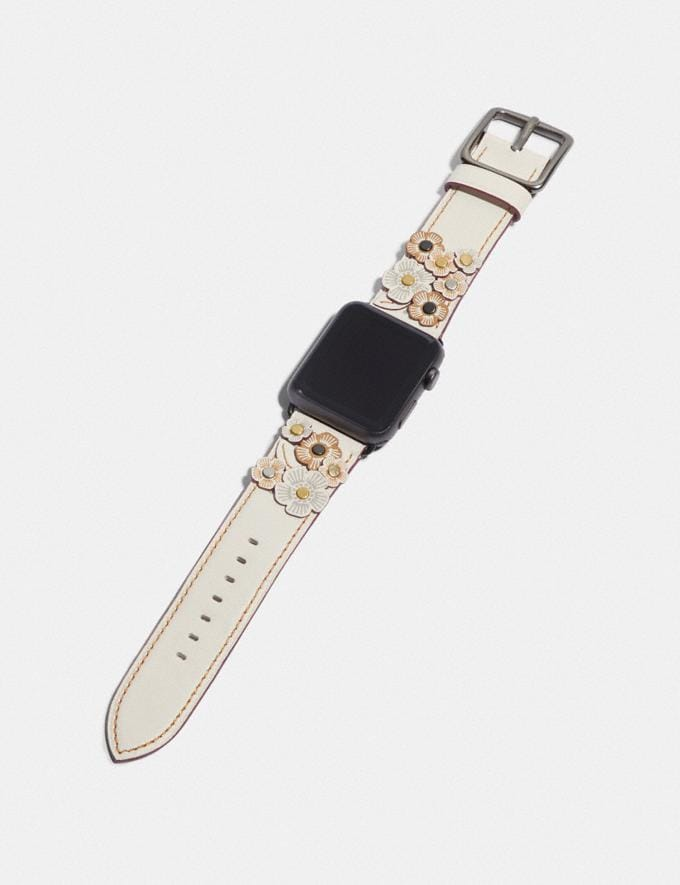 Coach Apple Watch® Strap With Tea Rose Applique Chalk Gifts For Her Alternate View 1