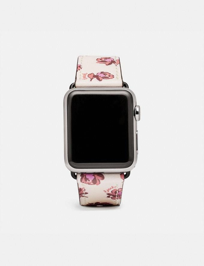 Coach Apple Watch® Strap With Floral Print Chalk Women Accessories Jewelry & Watches