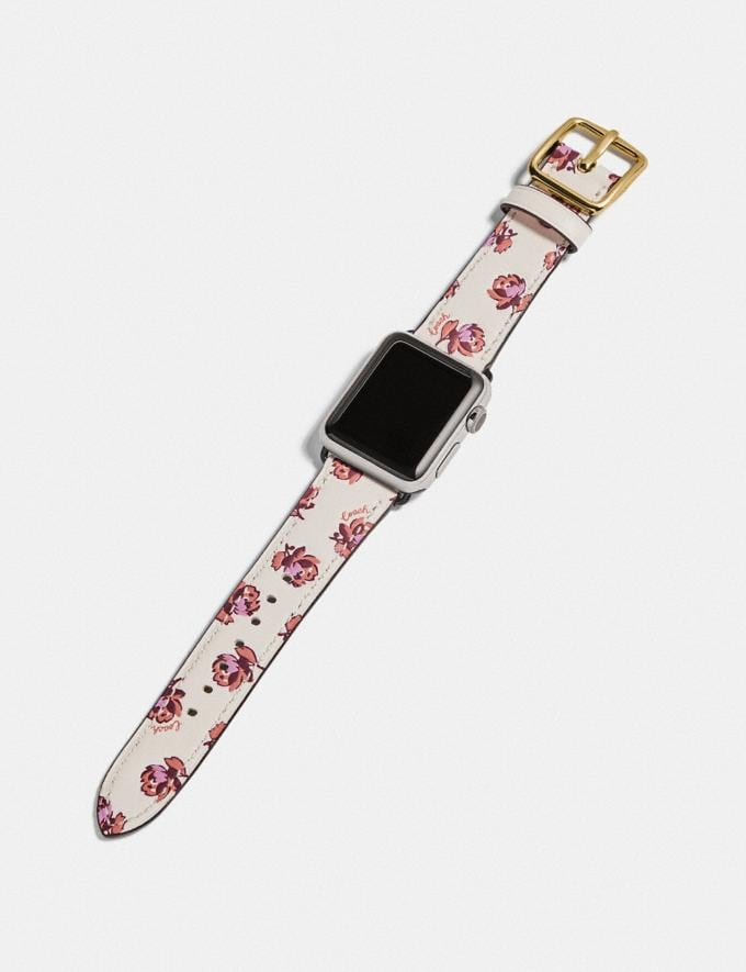 Coach Apple Watch® Strap With Floral Print Chalk Women Accessories Jewelry & Watches Alternate View 1