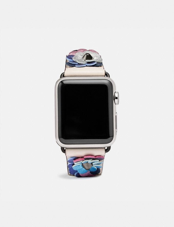 Coach Apple Watch® Strap With Leather Sequins Chalk/Multi Women Accessories Jewelry & Watches