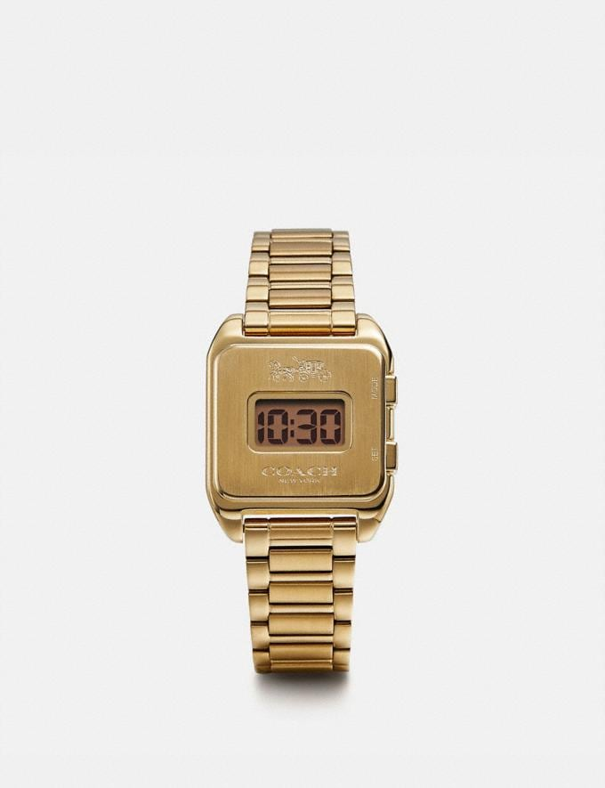 Coach Darcy Digital Watch, 30mm X 37mm Gold Mujer Accesorios Relojes