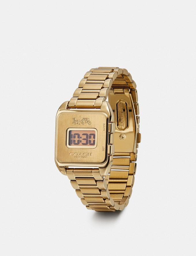 Coach Darcy Digital Watch, 30mm X 37mm Gold Women Accessories Watches Alternate View 1