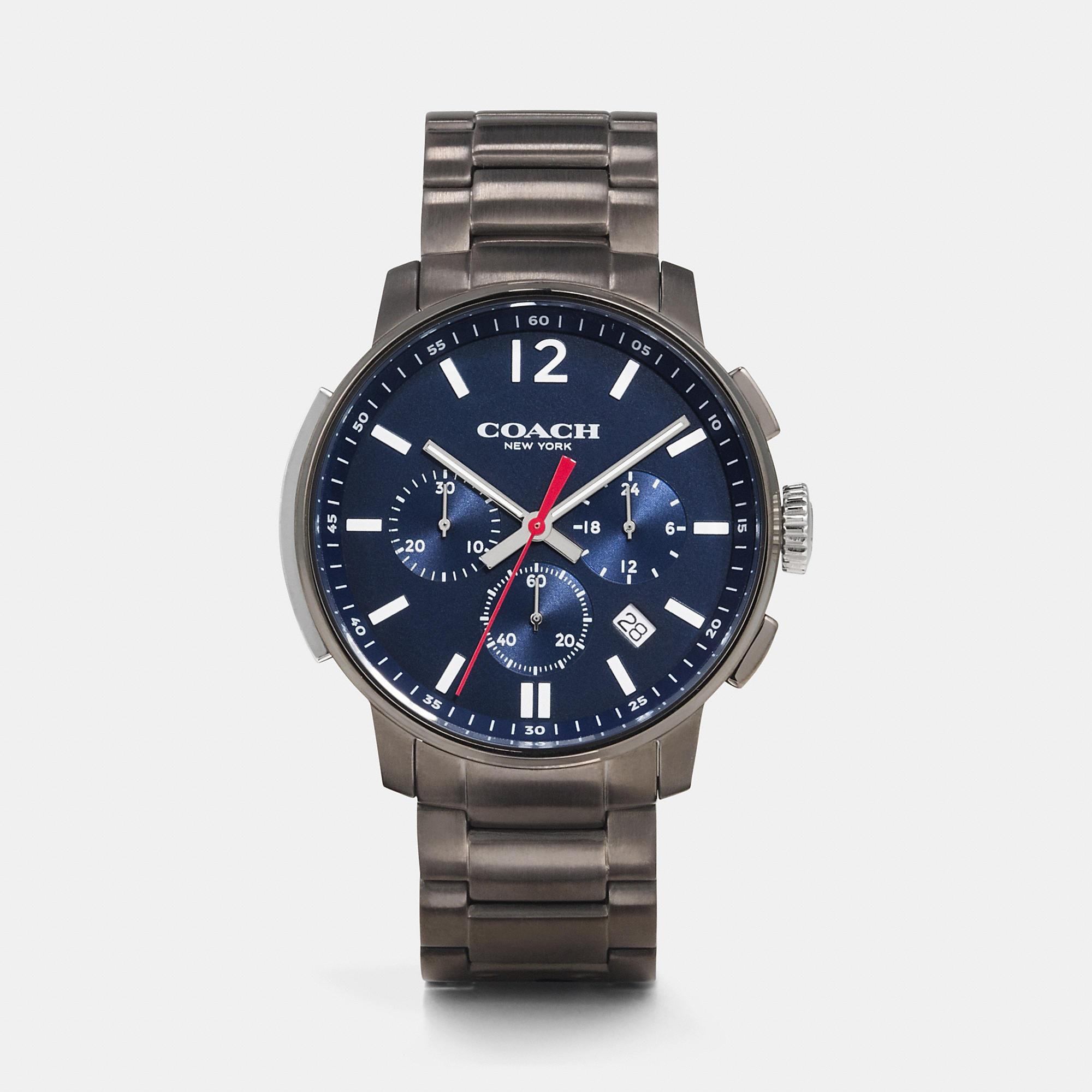 Coach Bleecker Slim Chrono Gunmetal Bracelet Watch