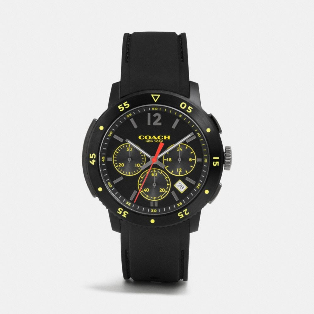 Coach Bleecker Sport Ionized Plating Chrono Rubber Strap Watch