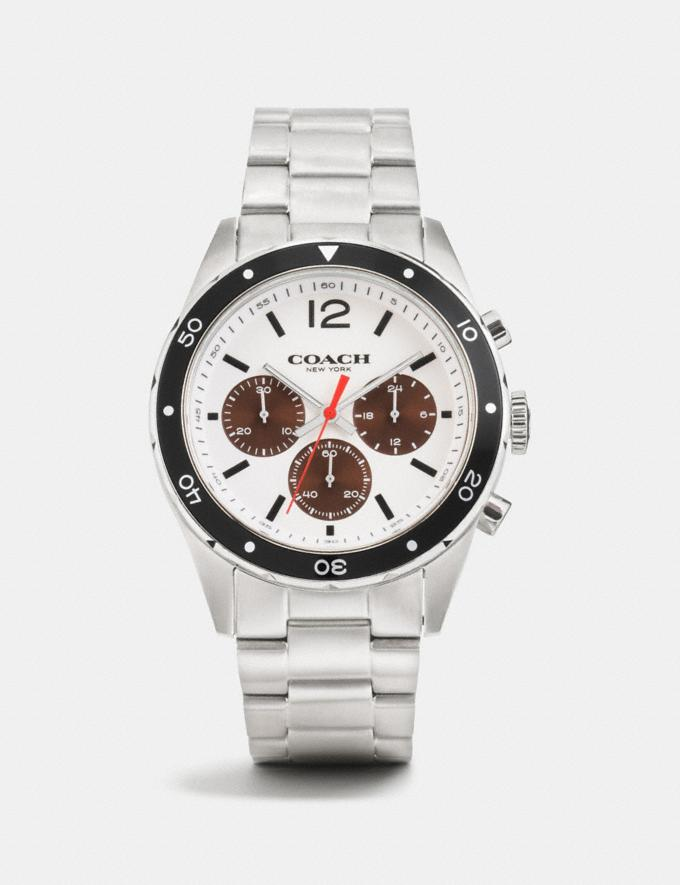 Coach Sullivan Sport Chrono Al Beze Watch, 44mm White/Brown