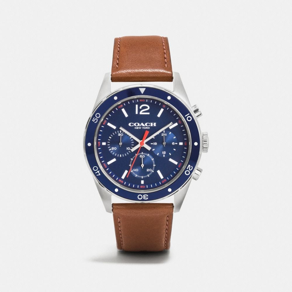 Sullivan Sport Stainless Steel Chrono Leather Strap Watch