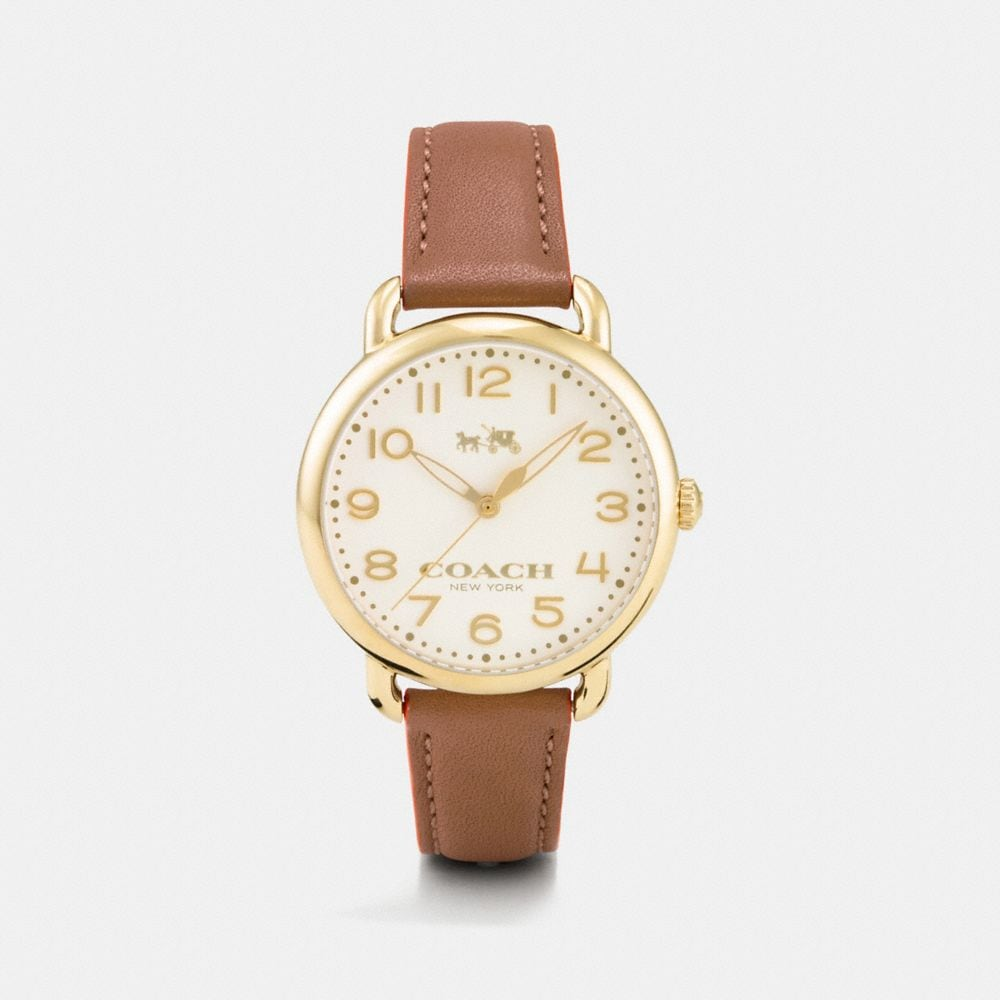 Coach 75th Anniversary Delancey Gold Plated Leather Strap Watch