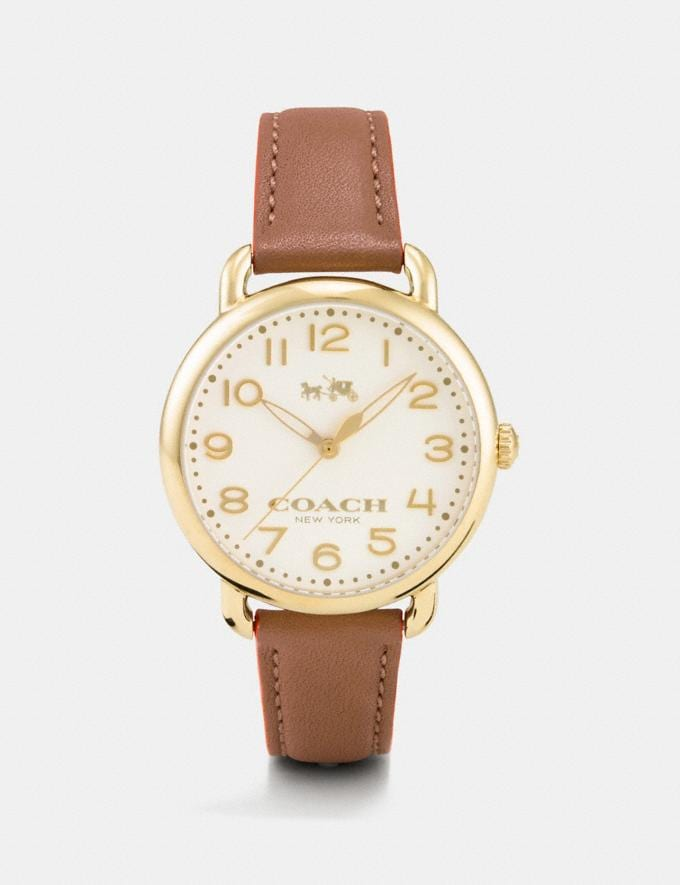 Coach 75th Anniversary Delancey Gold Plated Leather Strap Watch 0 Women Accessories Watches