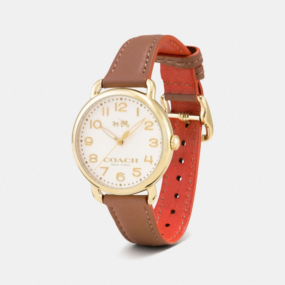 Coach 75th Anniversary Delancey Gold Plated Leather Strap Watch Alternate View 1