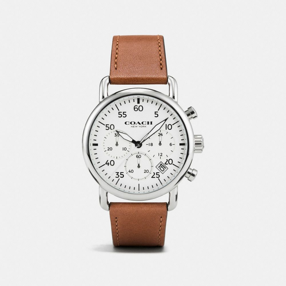 75TH ANNIVERSARY DELANCEY STAINLESS STEEL LEATHER STRAP WATCH