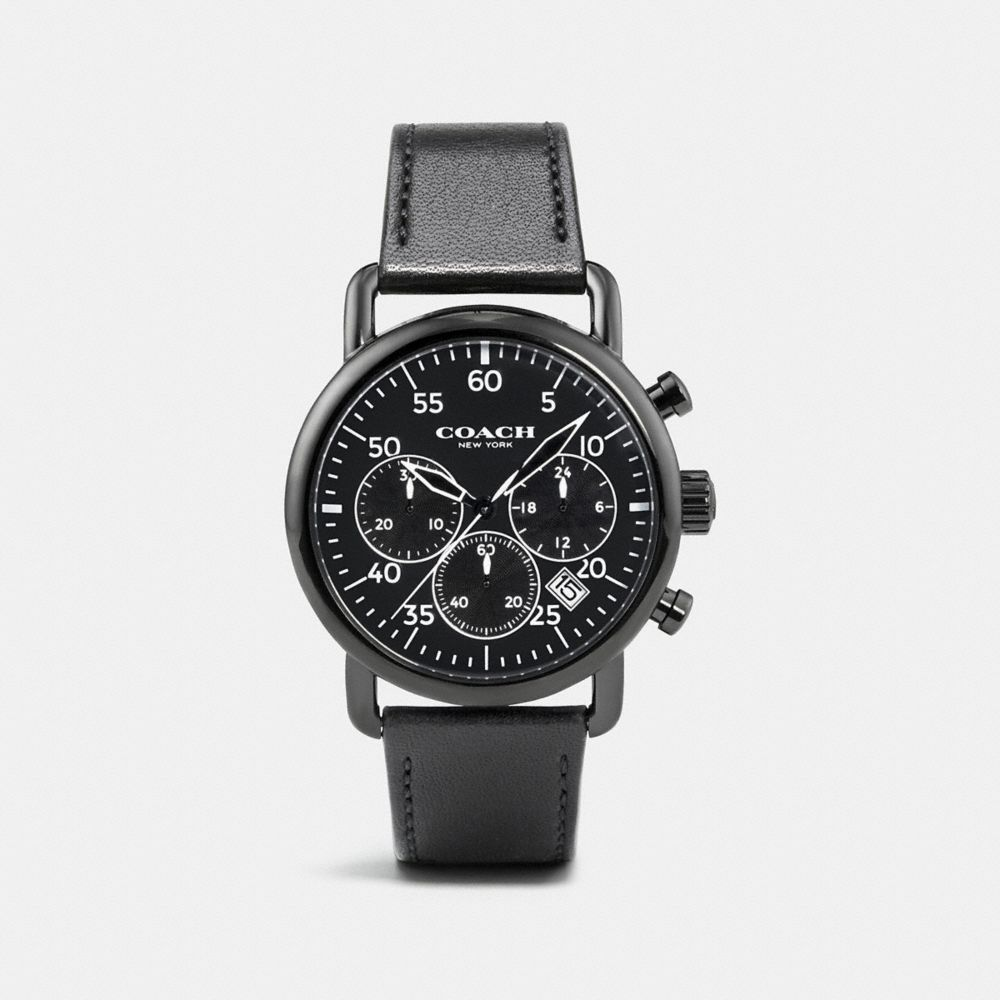 75TH ANNIVERSARY DELANCEY BLACK IONIZED PLATED LEATHER STRAP WATCH
