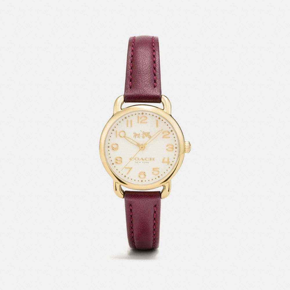 Coach Delancey Gold Tone Sunray Dial Leather Strap Watch