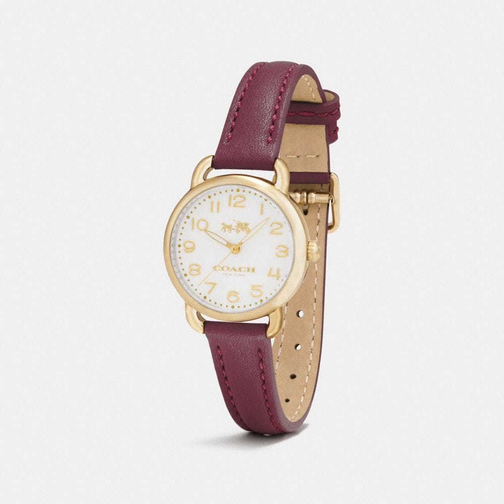 Coach Delancey Gold Tone Sunray Dial Leather Strap Watch Alternate View 1