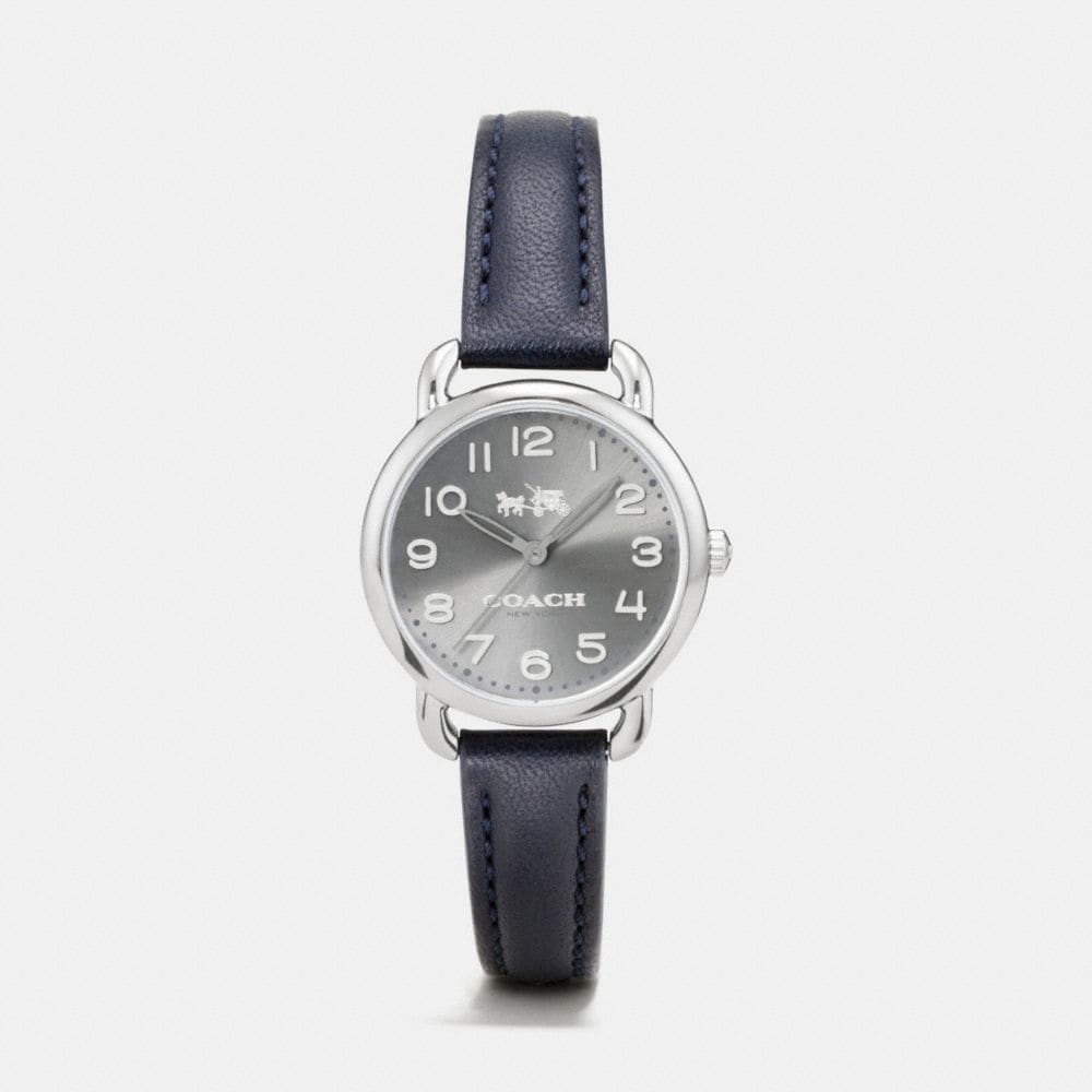 Coach Delancey Grey Ionized Plated Sunray Dial Leather Strap Watch