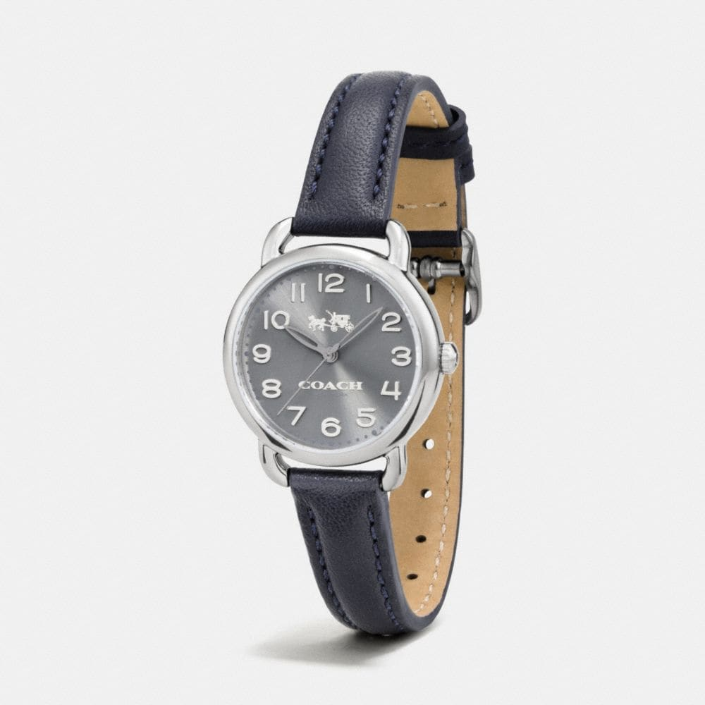 Coach Delancey Grey Ionized Plated Sunray Dial Leather Strap Watch Alternate View 1
