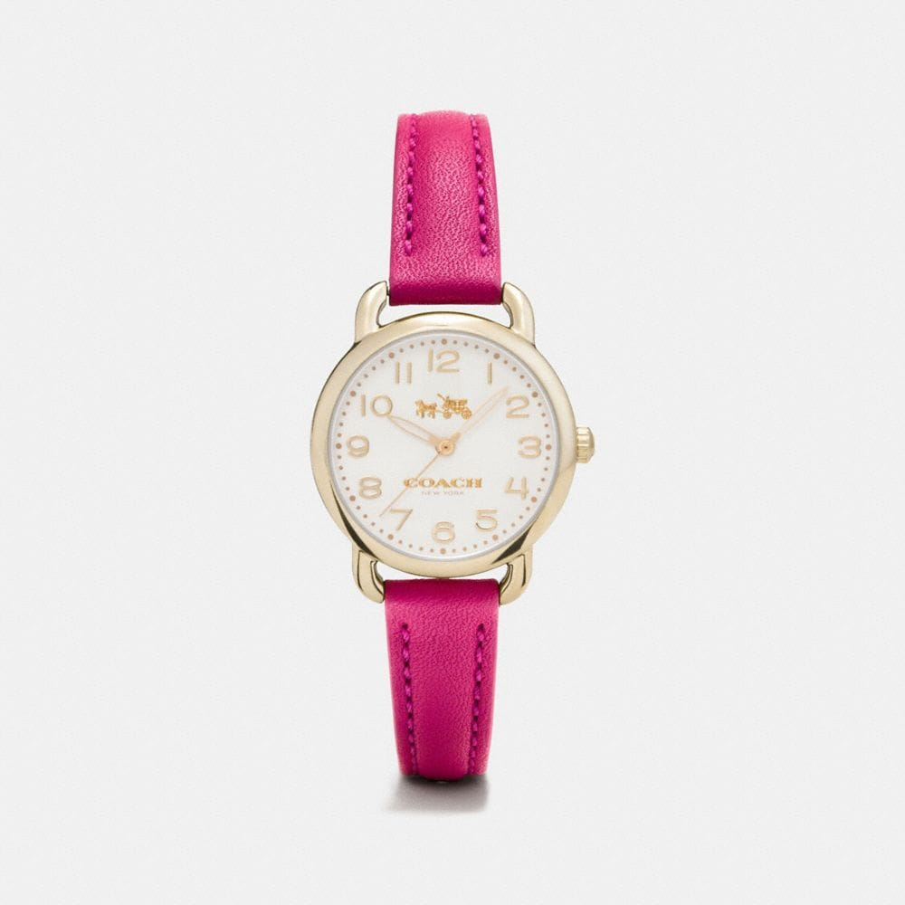 Coach Delancey Carnation Gold Tone Sunray Dial Leather Strap Watch