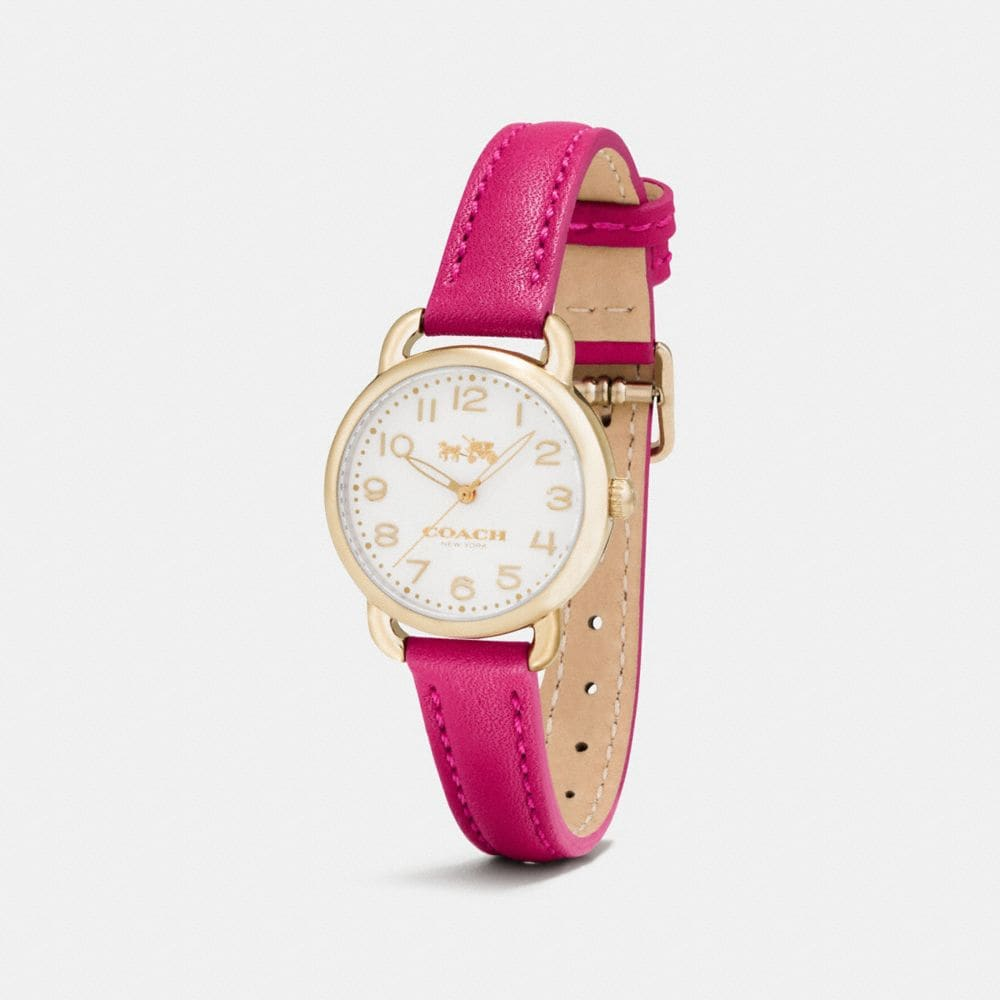 Coach Delancey Carnation Gold Tone Sunray Dial Leather Strap Watch Alternate View 1