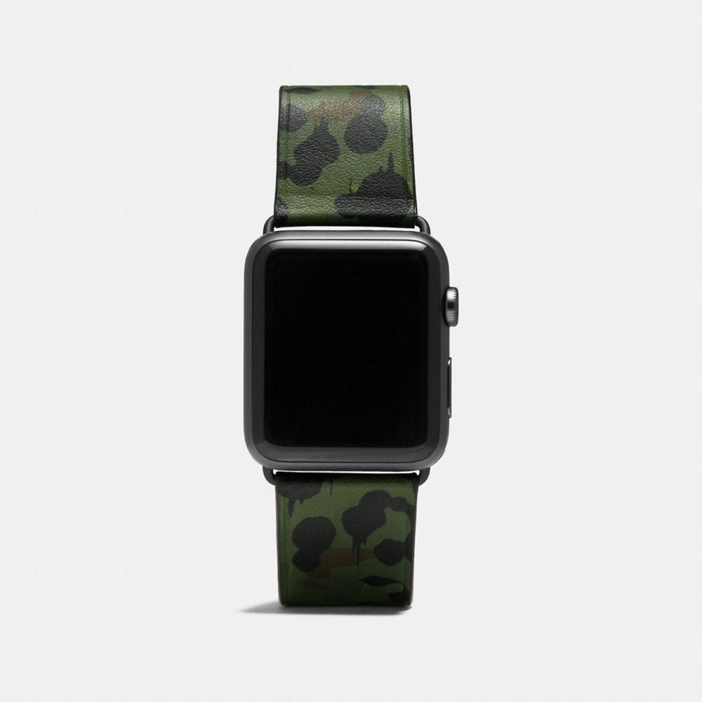 COACH APPLE WATCH STRAP WITH WILD BEAST PRINT
