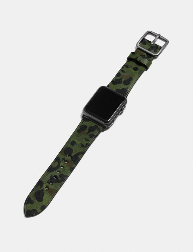 Coach Apple Watch® Strap With Wild Beast Print Denim Women Accessories Watches Alternate View 1