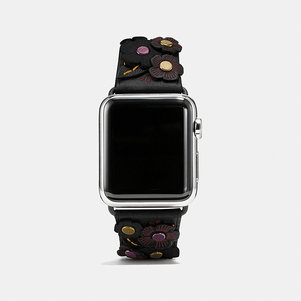 Coach Apple Watch 174 Tea Rose Applique Leather Strap