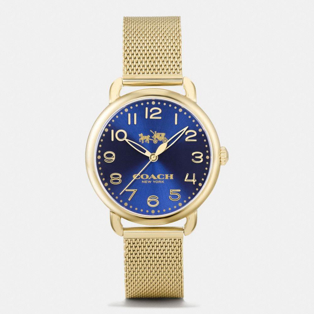 Coach Delancey Gold Tone Sunray Dial Mesh Bracelet Watch