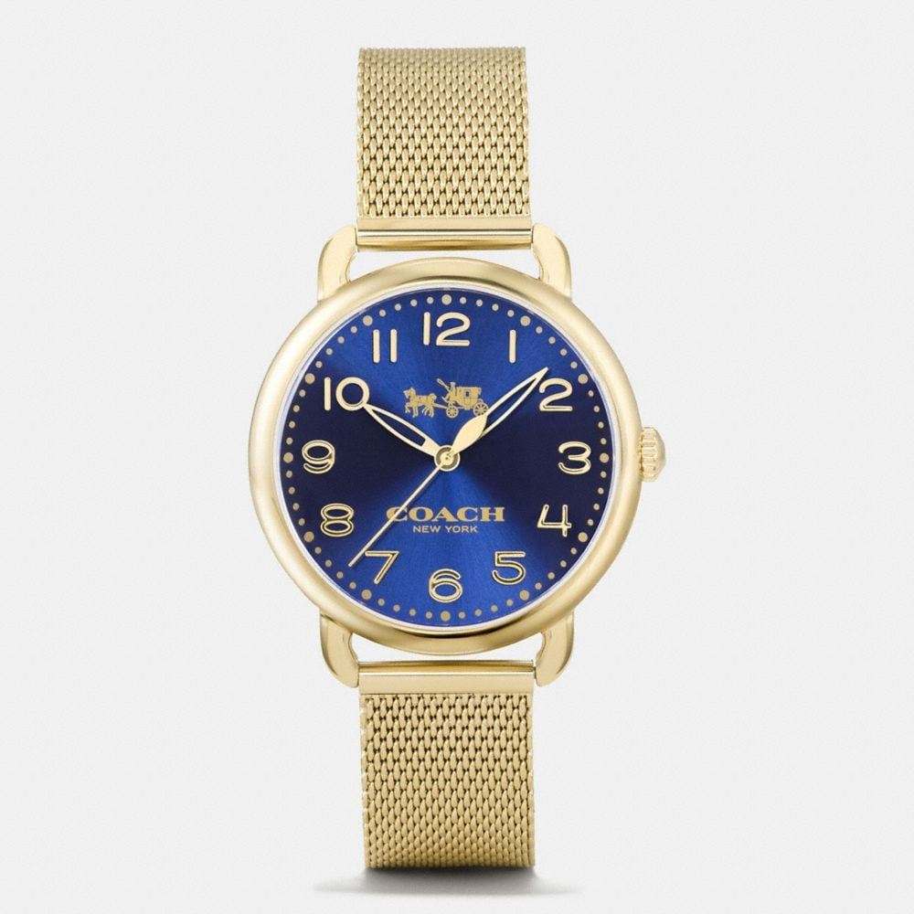 Coach Delancey Gold Tone Sunray Dial Mesh Bracelet Watch