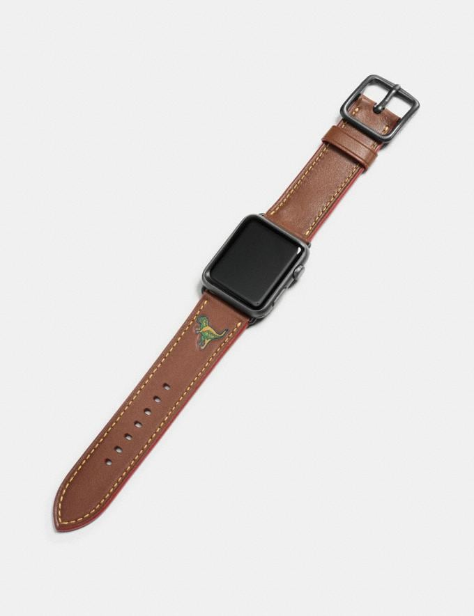 Coach Apple Watch® Strap With Rexy Dark Saddle Men Edits Your Life, Your Coach Alternate View 1