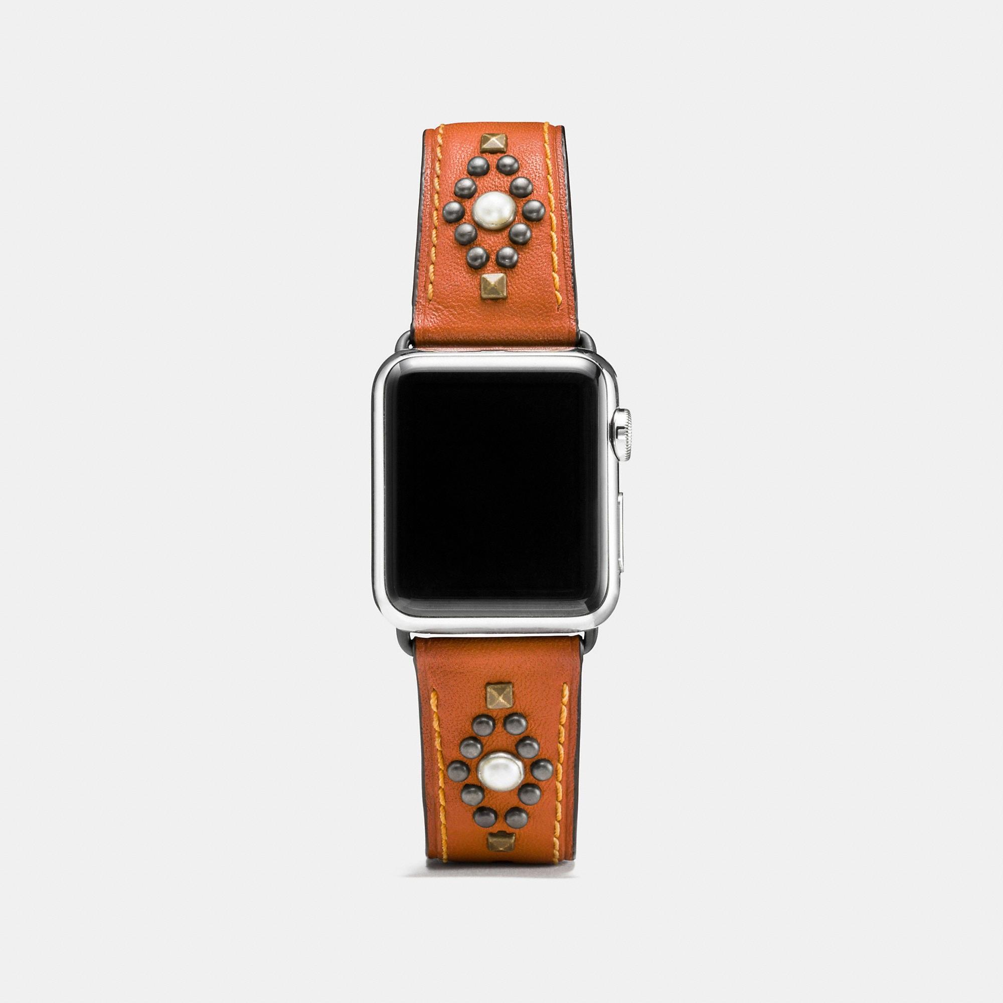 Coach Apple Watch Studs Leather Watch Strap