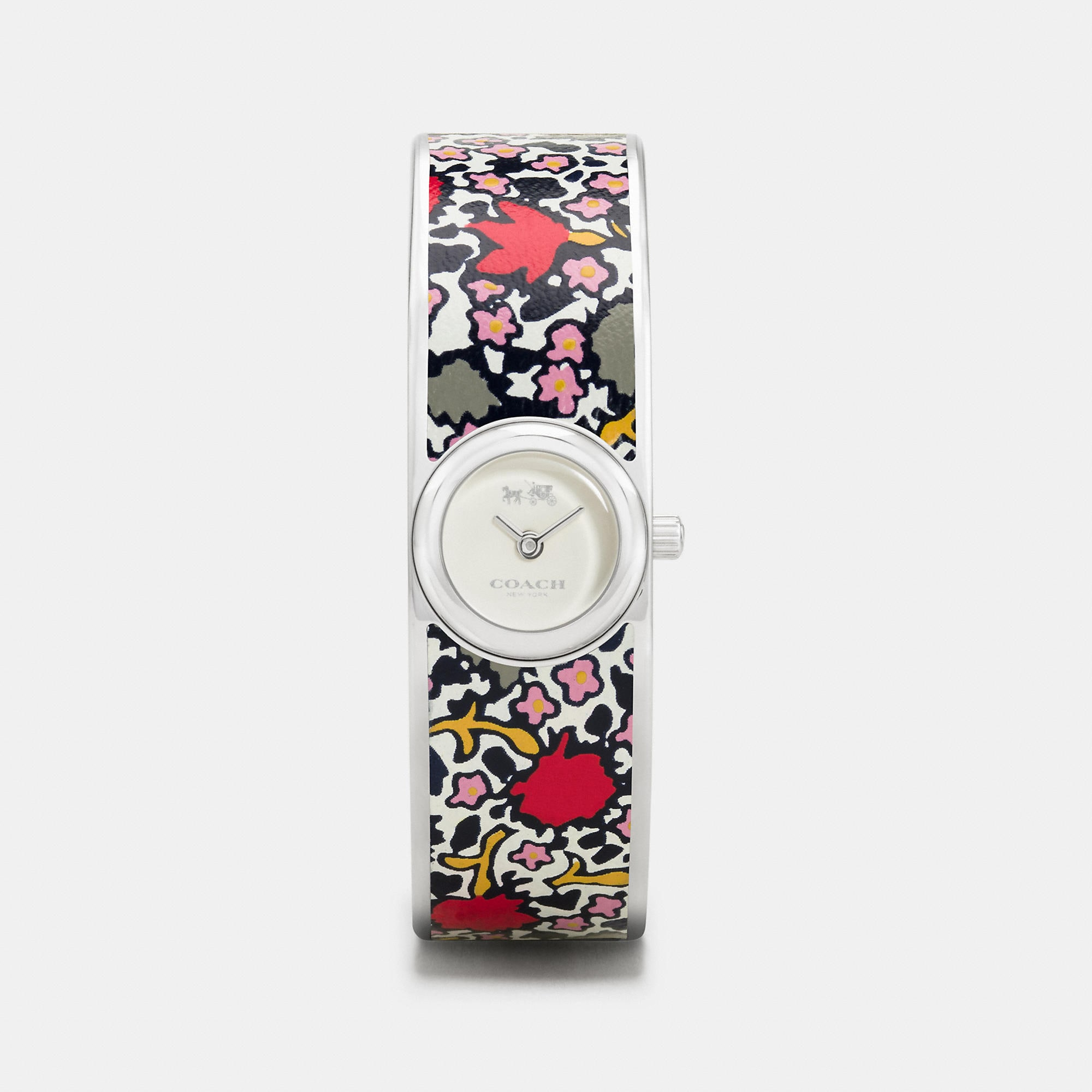 Coach Scout Stainless Steel Printed Leather Inlay Bangle Watch