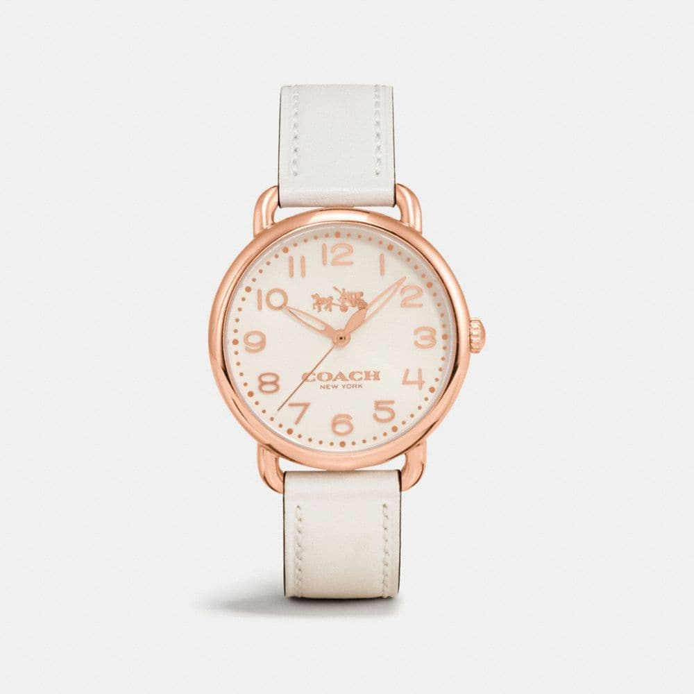 Coach Delancey Rose Gold Tone Sunray Dial Leather Strap Watch