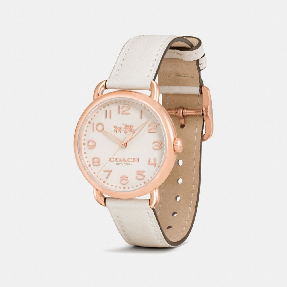 Coach Delancey Rose Gold Tone Sunray Dial Leather Strap Watch Alternate View 1