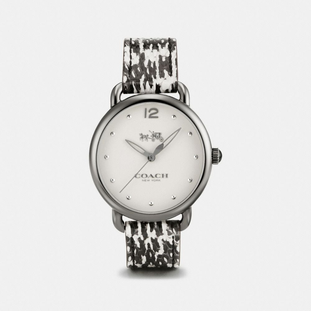 Coach Delancey Ionized Plated Python Leather Strap Watch