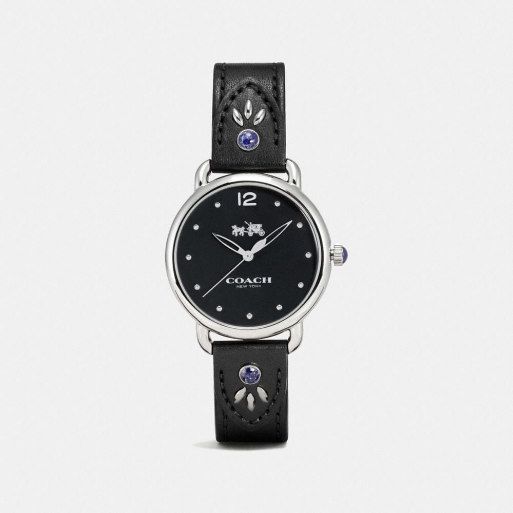 DELANCEY STAINLESS STEEL STUDDED LEATHER STRAP WATCH