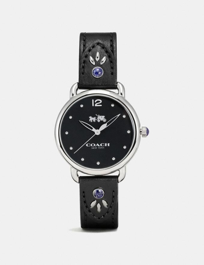 Coach Delancey Stainless Steel Studded Leather Strap Watch Black Women Accessories Watches