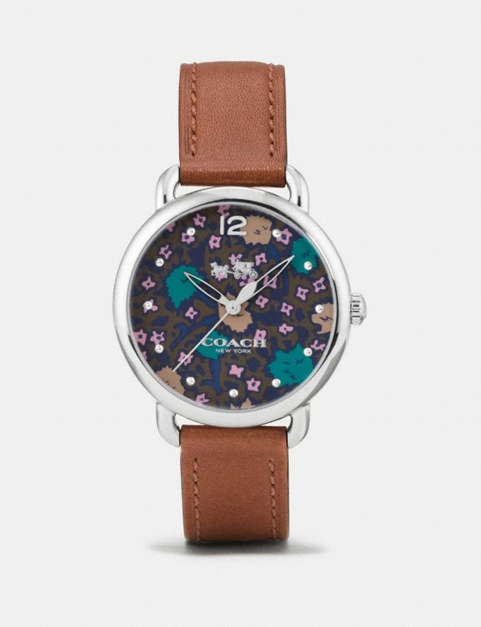Coach Delancey Watch With Floral Dial, 36mm Saddle Women Accessories Watches