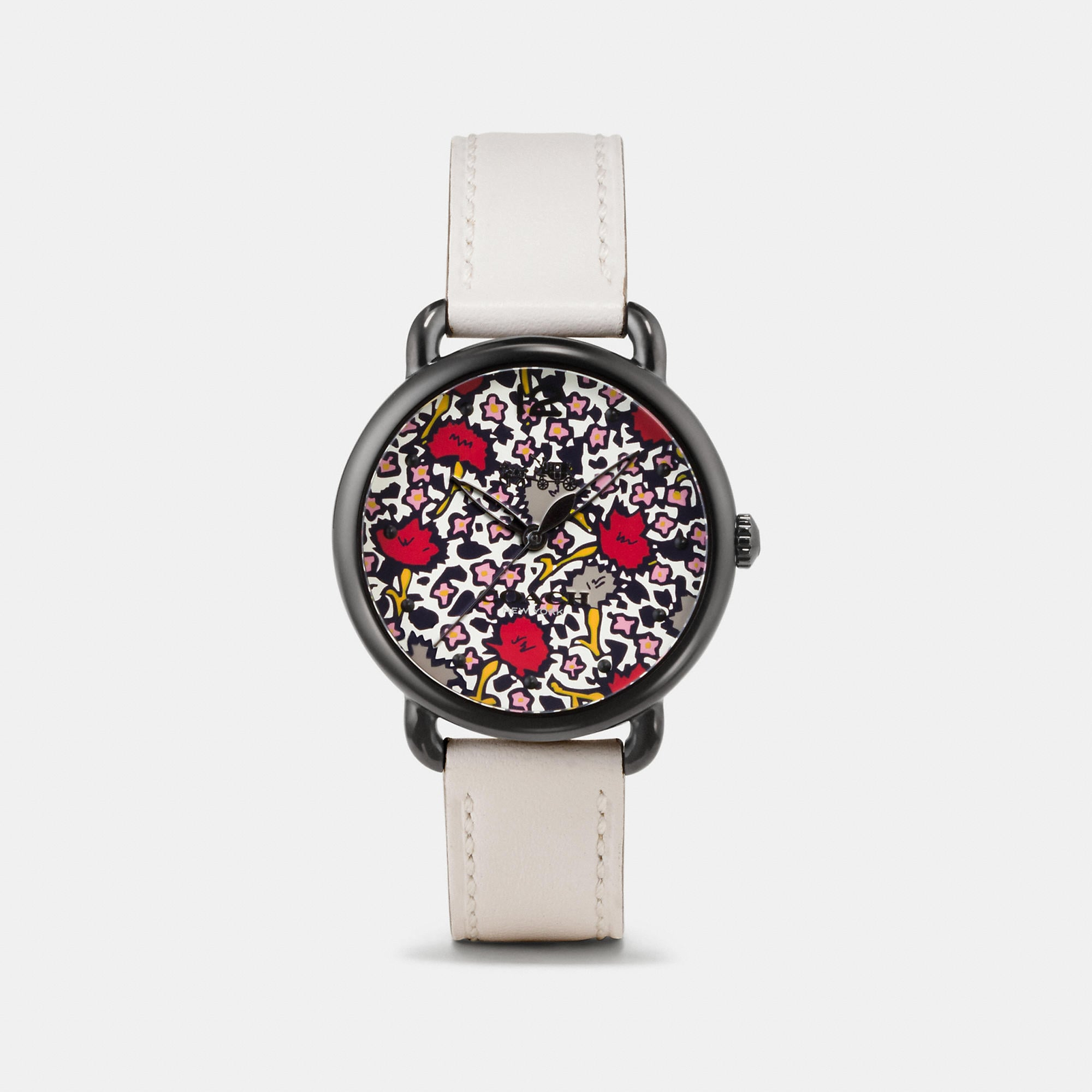 Coach Delancey Ionized Plated Floral Dial Leather Strap Watch