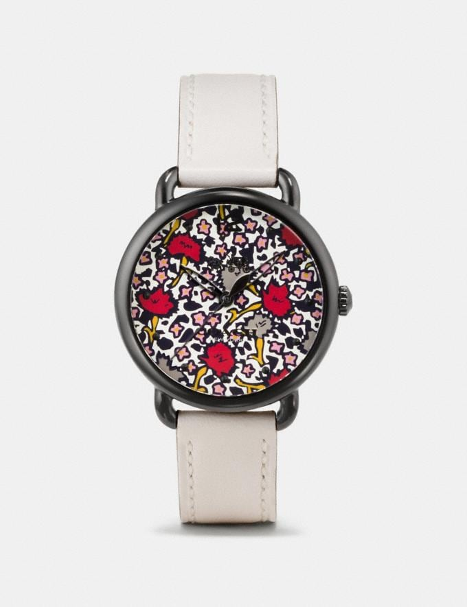 Coach Delancey Watch With Floral Dial, 36mm Chalk Women Accessories Watches