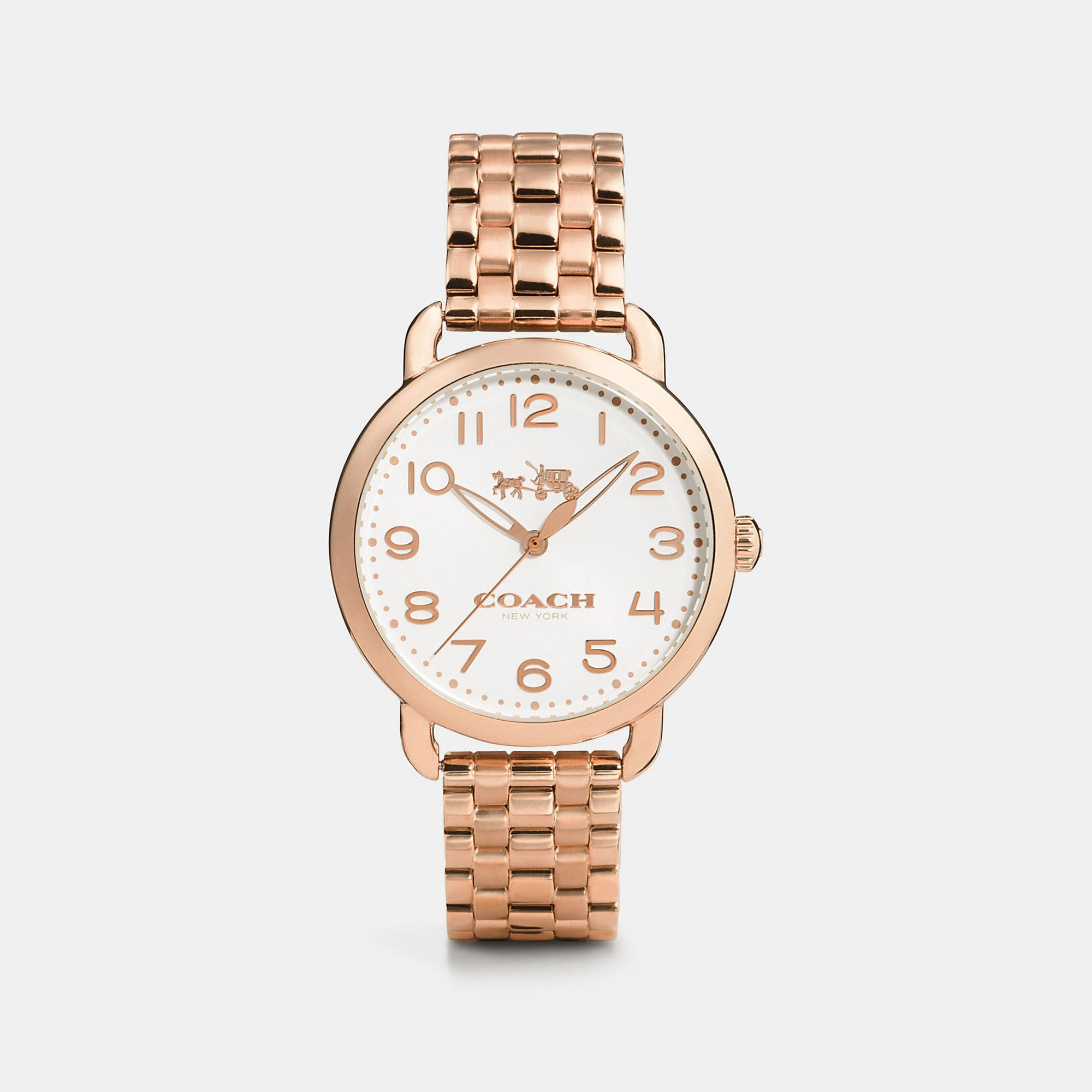 Coach Delancey Rose Gold Sunray Dial Bracelet Watch