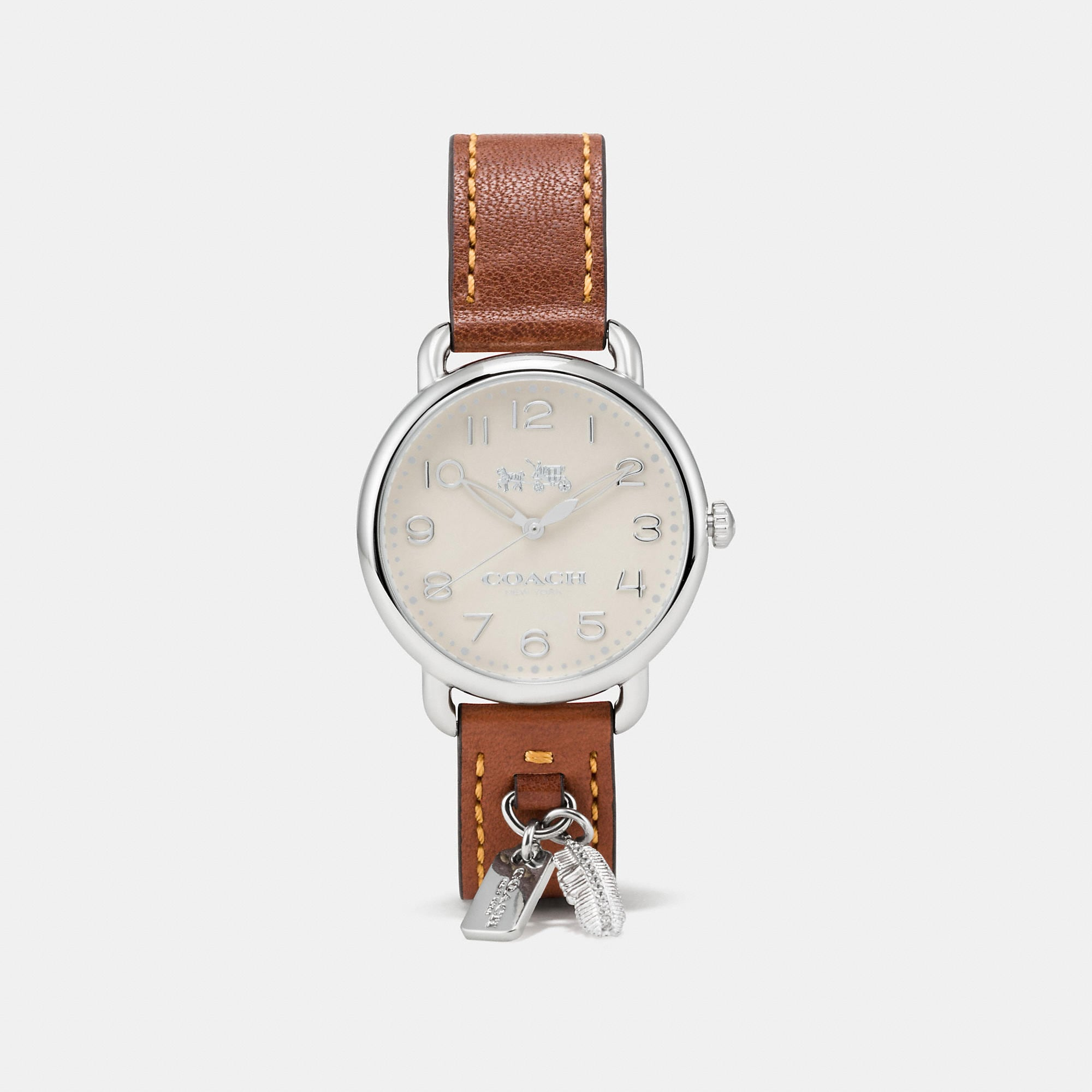 Coach Delancey Leather Strap Watch With Feather Charm
